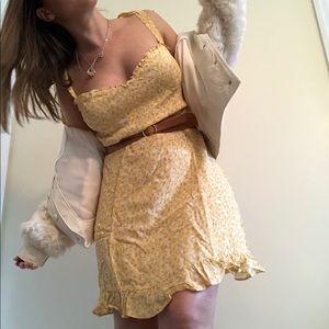 REFORMATION Christine Lily Yellow Ruffle Dress